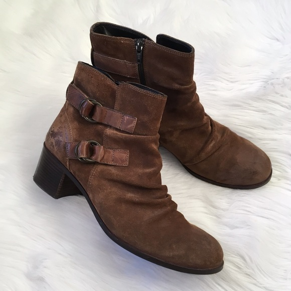 7a9f8c06bcdef Paul Green Shoes | Brown Leather Buckle Ankle Boots | Poshmark